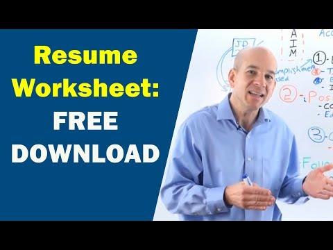 Resume Writing Worksheet (walk through...)