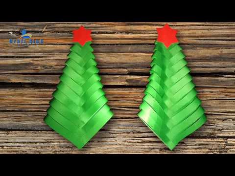 How To Make A Simple & Beautiful Paper Christmas Tree | X-mas Decoration |  Lina's Craft Club