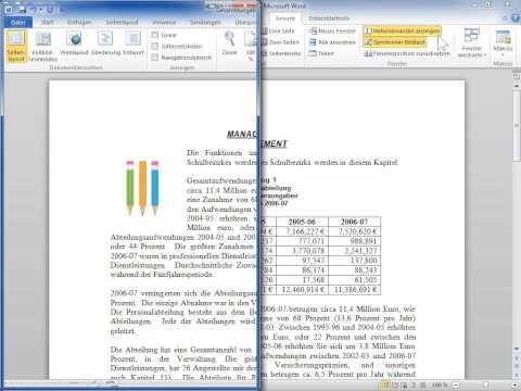 Microsoft Word 2010 Dokumente nebeneinander vergleichen