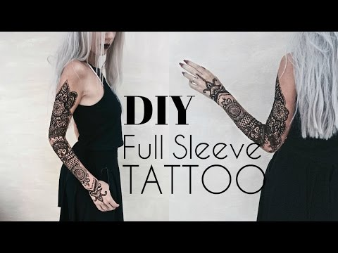 DIY Temporary Full Sleeve Tattoo w/ Henna | Stella