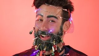 Men Decorate Each Others Beards For Christmas