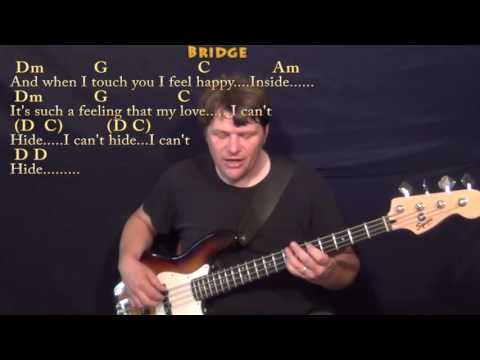 I Want to Hold Your Hand (Beatles) Bass Guitar Cover Lesson with Chords/Lyrics