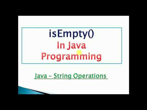 check whether string is empty or not in java : Example