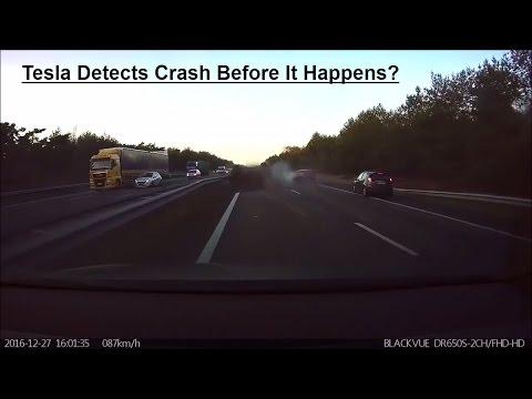 Tesla Self Driving Car Predicts Crash