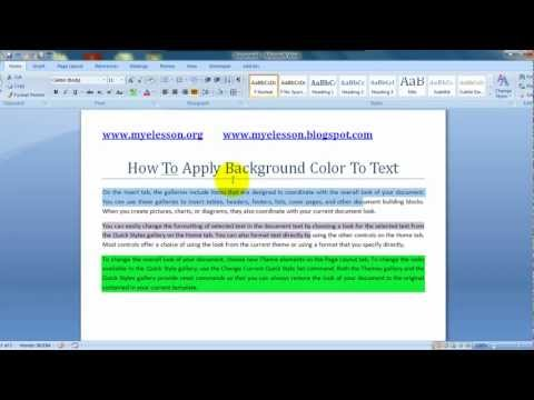 MS Word : Apply Background Color To Text Hindi