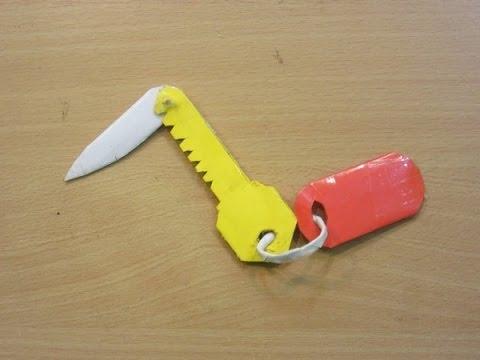 Make a Paper  knife ( pocket key knife )- Easy Paper Blade Tutorials