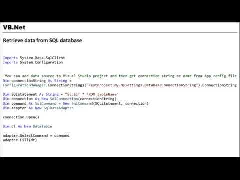 VB.NET - Retrieve data from SQL database