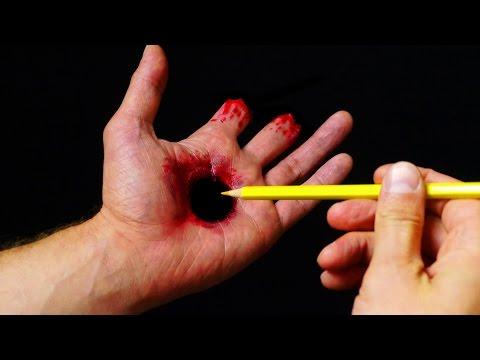 Halloween Makeup Tutorial - Hole in Hand illusion SFX
