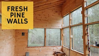 Pine Walls are DONE - Cabin Build Ep.42