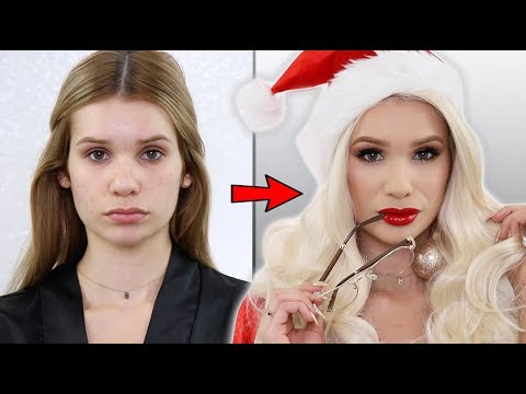 GLAM Holiday Makeup | MRS. CLAUS TRANSFORMATION!
