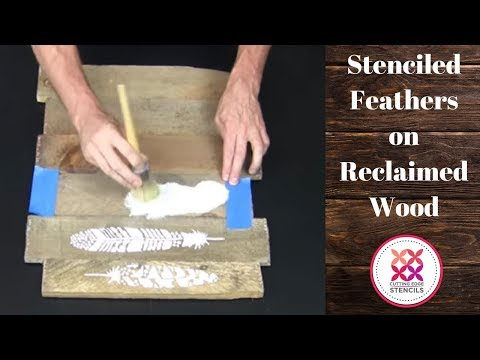 How To Stencil Feathers On Reclaimed Wood Using Old Pallet Wood and a Craft Stencil