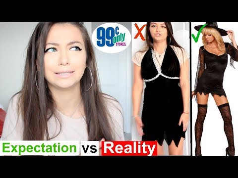 Trying On $1 Halloween Costumes! 99 CENT STORE PRODUCT TESTING