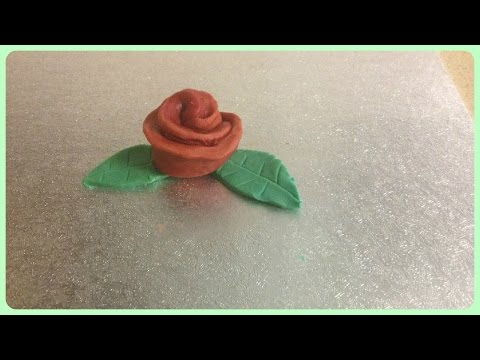 Simple fondant Rose flower with leaves { How to make }