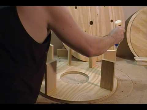 Building a Wind Turbine (28 of 46) Glue Rotor Base on top of Struts using wood glue