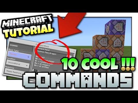 Minecraft - 10 COOL COMMANDS [ Easy Tutorial ] MCPE / Xbox /Java / Windows 10