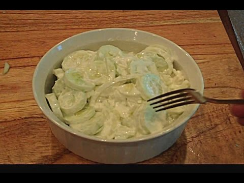 Cucumber Onion Salad SUGAR FREE Sour Cream apple cider vinegar Summer cook out dish tutorial how to