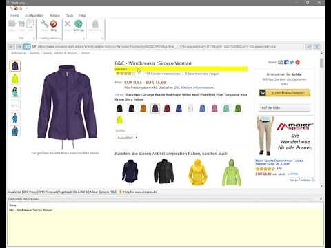 Getting product sizes and colors in separate cells : Amazon