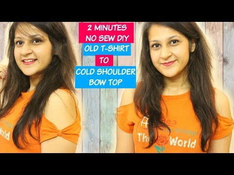 2 Minutes DIY: Convert T-shirt into a Cold Shoulder Bow Top (NO SEW DIY) | Shirin Talwar