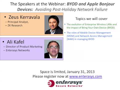 Sign up for Enterasys BYOD and Apple Bonjour Devices webinar - January 31, 2013