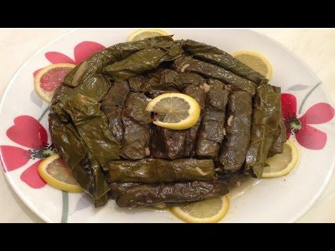 Vegetarian Stuffed Grape Leaves - وصفات رمضانية - طريقة تحضير ورق عنب بالزيت