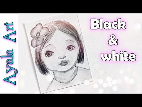 Using water soluble pencil | black & white portrait |  draw a cute face | 29 faces by AyalaArt