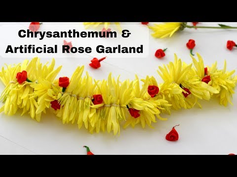 Easy method to make flower garland with rose | Chrysanthemum String | Rainbow Rangoli