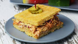 Sheet Pan BBQ Chicken Cornbread Sandwich