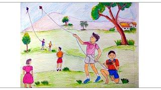 Scenery Kite Drawing For Kids Videos 9tube Tv