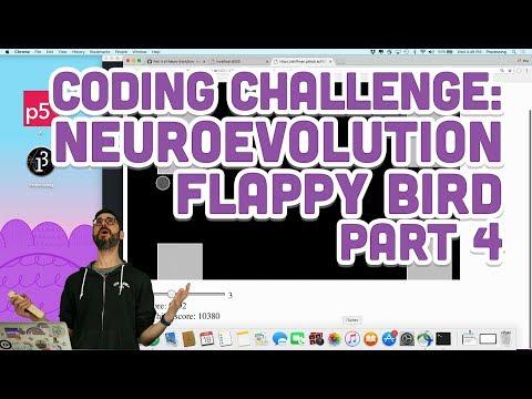 Coding Challenge #100.4: Neuroevolution Flappy Bird - Part 4
