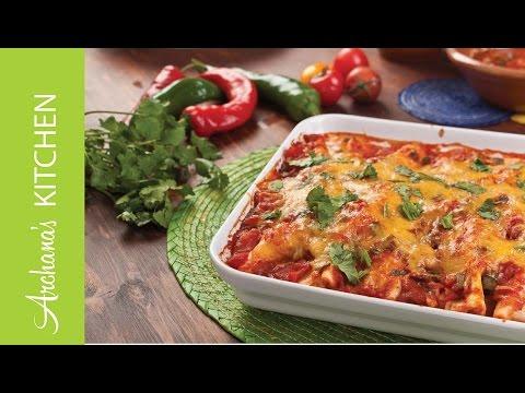 Mexican Vegetarian Bean & Cheese Enchiladas Recipe by Archana's Kitchen