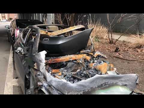Crazy Car fire crash total wreck