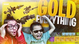 *NEW* SOLID GOLD GAME MODE! IM UNTOUCHABLE WITH 5 GOLD SCARS! 9 YEAR OLD KID FORTNITE BATTLE ROYALE!