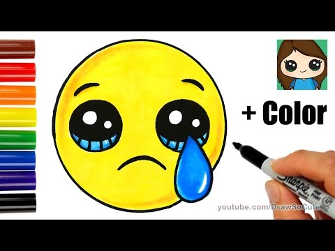 How to Draw a Sad Face Emoji Easy with Coloring