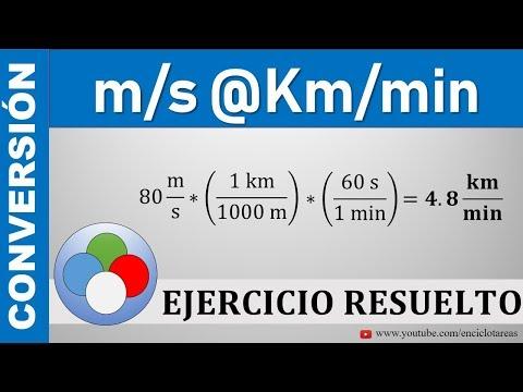 Conversión de m/s a  km/min