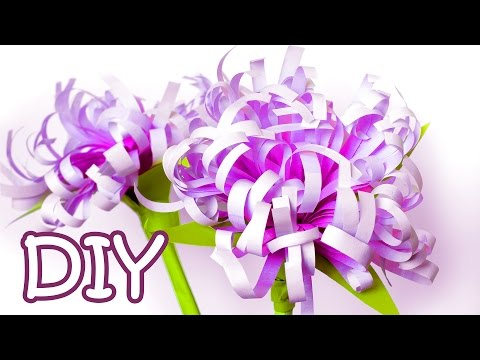 DIY Paper Flowers (Chrysanthemums) - How To Make Flowers Out Of Printer Paper