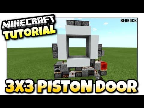 Minecraft - 3x3 PISTON  DOOR [ Redstone Tutorial ] MCPE / Xbox / Bedrock