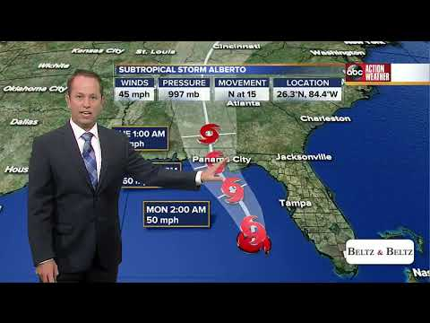 Subtropical Storm Alberto moves north in the Gulf of Mexico