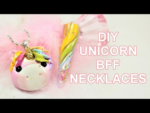 DIY BFF Charms - Unicorn and Unicorn Horn - In Polymer Clay - Friendship Necklaces