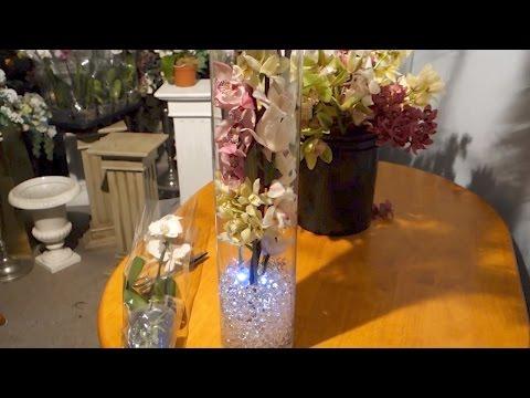 Tall Vase Centrepiece with  Cymbidium Orchids