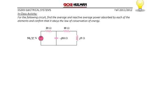 ES203 Lec 9-1: Instantaneous Power, Average and Reactive Power