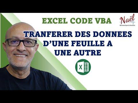 Excel codes VBA, Transferts de données d'une feuille automatiquement