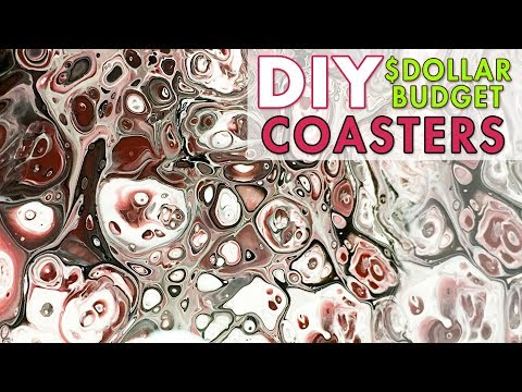 Fluid Acrylic Painting Tutorial DOLLAR STORE BUDGET DIY COASTERS
