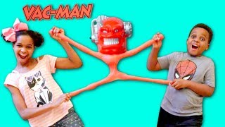 GIANT VAC MAN vs Bad Baby Shiloh and Shasha - STRETCH ARMSTRONG ENEMY! - Onyx Kids