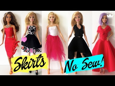 DIY How to make Skirts for Barbie. No Sew! Clothing for Dolls