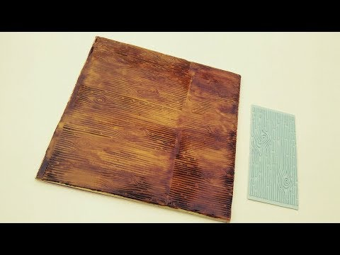 WOODEN EFFECT on Fondant Cakeboard using silicone mold. How to use silicone bark impression mold