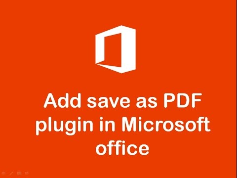 How to add Microsoft save as PDF plugin for Office