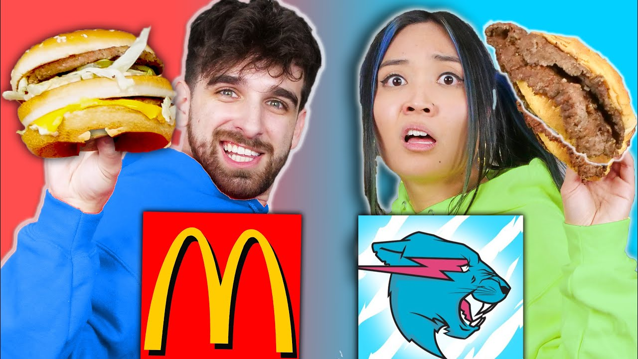 McDONALDS vs MRBEAST BURGER Food War! Taste Test Eating Challenge for 24 Hours by Spy Ninjas