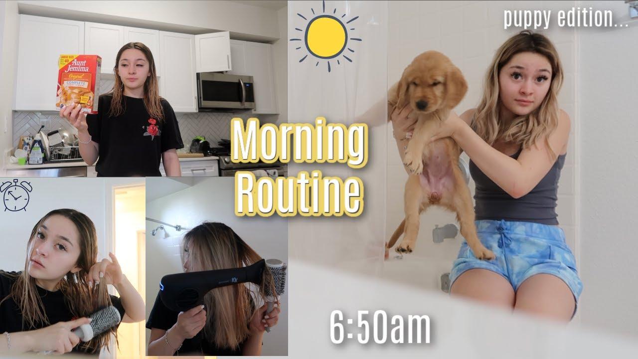 My 6am morning routine with an 8 week GOLDEN RETRIEVER PUPPY | SUMMERMESS DAY 4