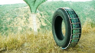 How Many iPhones Will Survive in Tire Rolling Down Cliff?