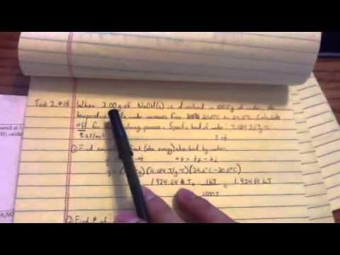Chemistry 161: Enthalpy and Calorimetry; Sample Exam 2, #18